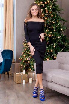 Черное платье с открытыми плечами RUXARA
