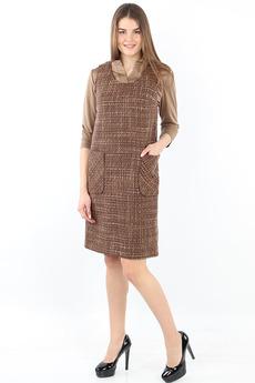 Коричневое платье с карманами Bast со скидкой