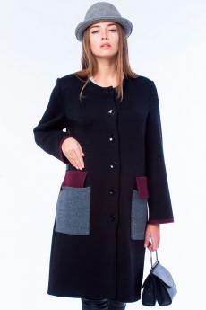 Черное вязаное пальто Kvinto