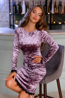 Велюровое платье аметистового цвета Open-Style
