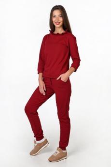 Бордовый костюм с рюшами Милана